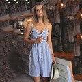 Пляж Платье 2016 Новый Бретелек Спагетти Ремень Полосатый Линии Чешские колен Лето Бантом Vestidos Sexy Boho Платье