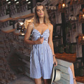 Beach Dress 2016 New Strapless Spaghetti Strap Striped A-line Bohemian Knee-length Summer Bowknot Vestidos Sexy Boho Dress