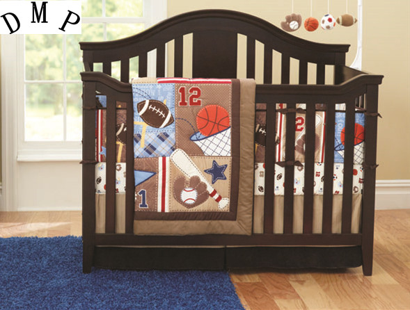Promotion! 7PCS Baby Cot Bedding Set Newborn Cartoon Sports Crib Bedding (bumper+duvet+bed cover+bed skirt) promotion 3pcs crib cot bedding newborn baby bedding set cartoon bumper duvet bed cover