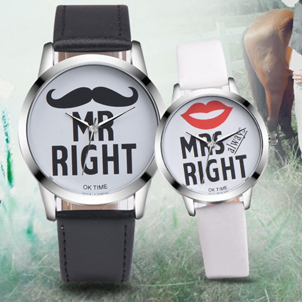 LinTimes Women Men Leather Trap Mr Right/Mrs Right Quartz Watch Lovers Casual Wristwatch