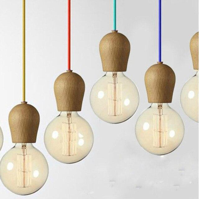Vintage Retro Anhanger Licht Eiche Holz Lustre Lampe Farbe Draht