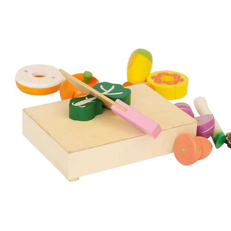 Lesene kuhinjske igrače Rezanje sadja Zelenjavna igra miniaturna - Igra igranja vlog - Fotografija 5