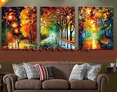 New 100 hand painted landscape city bench night modern oil canvas painting for living room wall for Oil painting for living room