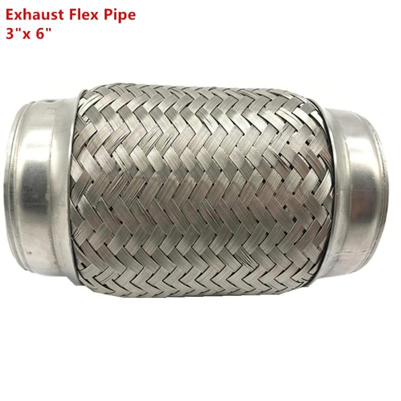 3 x 6 stainless steel exhaust flex pipe double braid braided flexi flexible joint leak repair tube