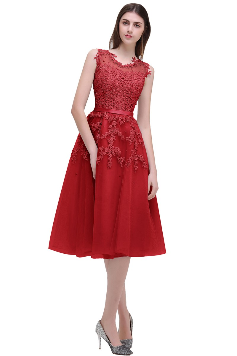 Image 4 - In stock fast ship Short beaded Cocktail Dresses Dusty pink Lace Cheap A line Tulle Sleeveless Cocktail Party Prom Dress 2019-in Cocktail Dresses from Weddings & Events