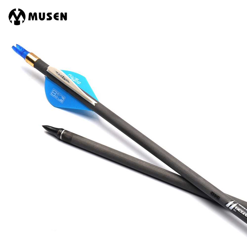 6/12/24pcs 32 Inches Spine 340 Pure Carbon Arrow Shaft with Replaceable Arrow Head Compound Bow Hunting Shooting Archery Sport wholesale archery equipment hunting carbon arrow 31 400 spine for takedown bow targeting 50pcs