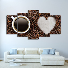 Canvas Paintings Wall Art Framework 5 Pieces Love Coffee Beans Posters Modular HD Prints Pictures Kitchen Home Decor
