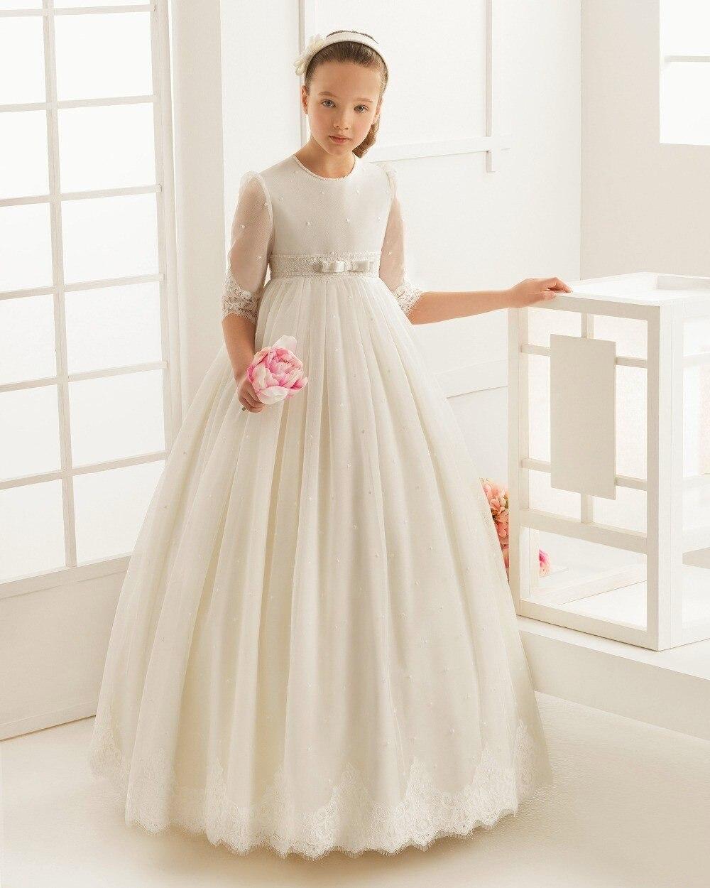 2017 Flower Girl Dresses for weddings first communion dresses for girls Tulle A-Line girls pageant dresses cute