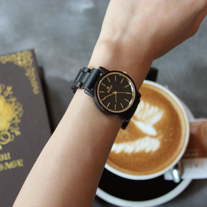 Natural All Ebony Bamboo Wood Business Watches Top Brand Luxury Men Quartz Watch With Japanese 2035 Movement Relogio For Gift