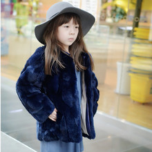 Kids Girls Real Rex Rabbit Fur Coat Winter Children Rabbit Fur Outerwear Jacket Warm Baby Fur Coat Clothing