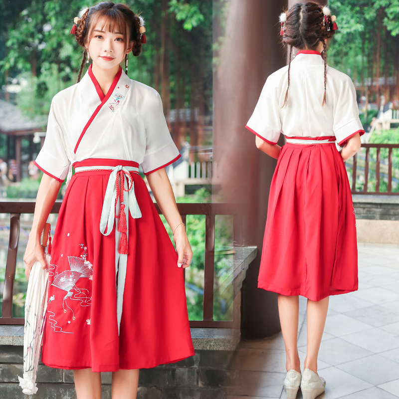Han Dynasty Hanfu Costume Traditional Chinese Ancient Folk Dress Tang Dynasty Fairy Skirt Performance Red Clothes Tops + Dress