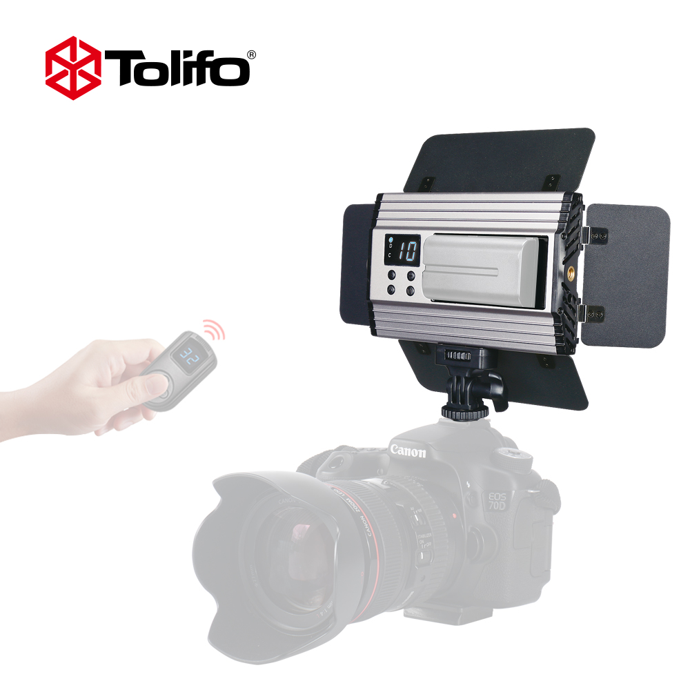 Tolifo PT-15B II Ultra Thin Light Weight 2.4G Wirelesss Remote Control Bi-color LED Video Camera Light with Barndoors for DSLR image