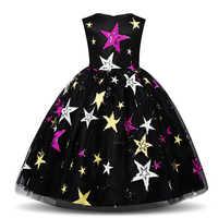 Fantasia cosplay princesa roupas vestido para meninas crianças impresso estrela traje feriado festa de halloween vestido de natal crianças roupas
