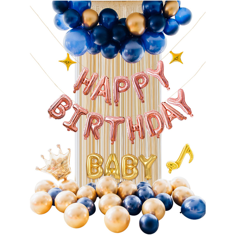 Rose Gold Happy Birthday Balloon Kit Baby Shower Champagne White Latex Balloon Garland Blue Balloon Banner Photo Props