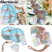 OurWarm 10pcs Creative Wedding Gifts for Guest Maps Compass Absorbent Cork Coasters with Tags Travel Theme Souvenirs