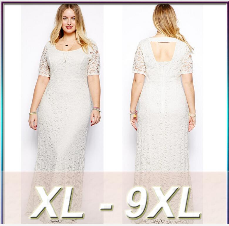2016 Women Elegant Casual Lace Dress Navy Black White Plus Size XXL 3XL 4XL 5XL 6XL 7XL 8XL 9XL Summer Maxi Long Dress