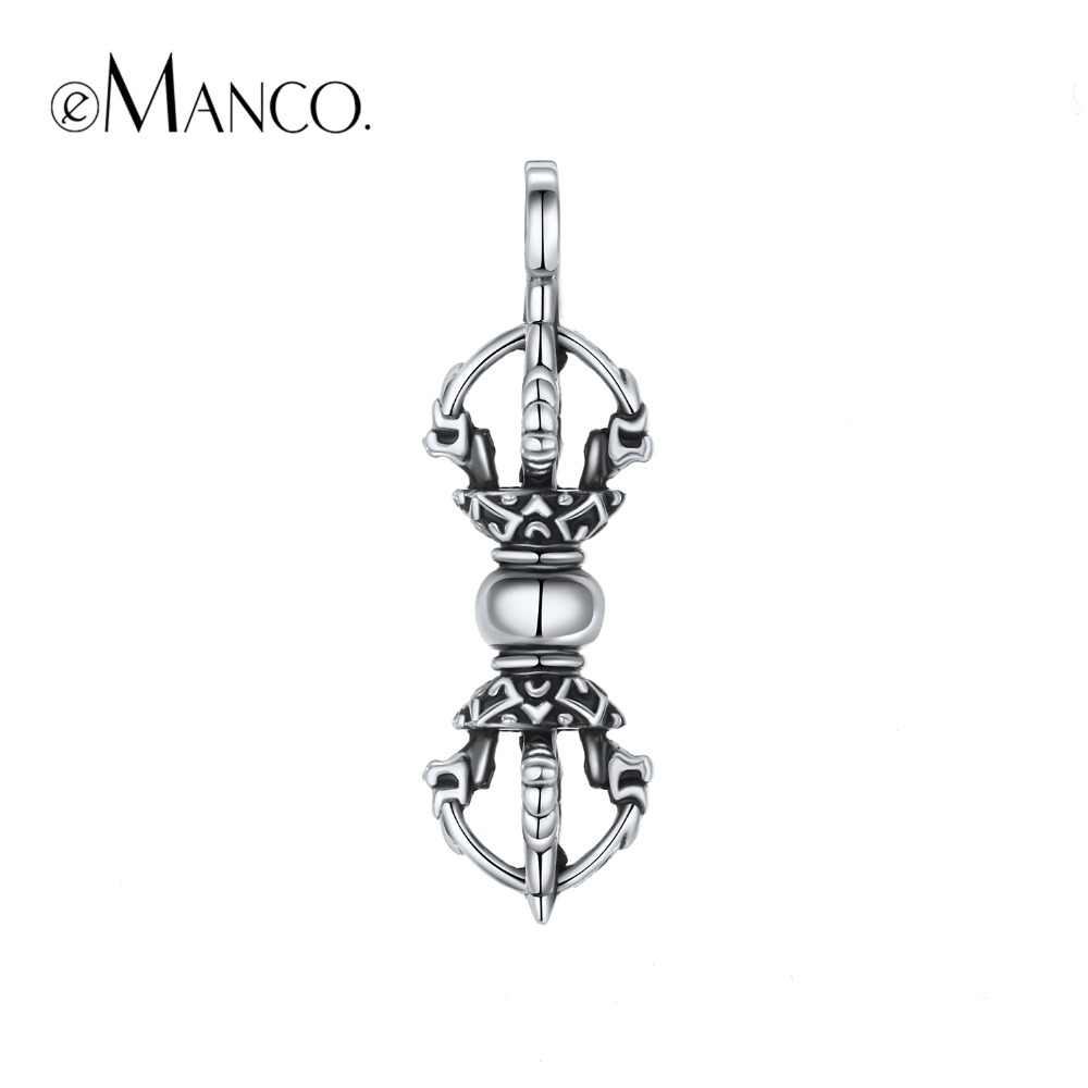 e-Manco 925 Sterling Silver Vajra Pendant Necklace Wholesale Bless Peace  Avoid Evil Pendant Fashion Gifts