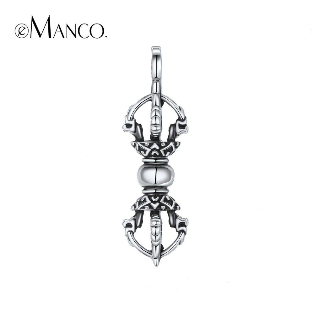 E-Manco 925 Sterling Silver Vajra Pendant Necklace Wholesale Bless Peace  Avoid Evil Pendant Fashion Gifts