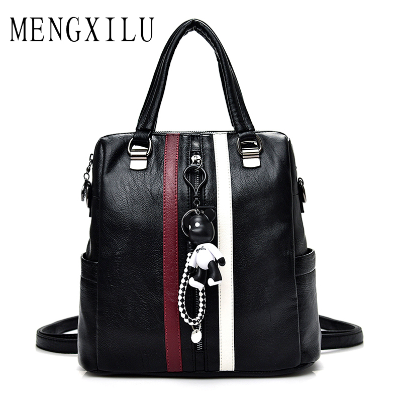 MENGXILU Brand Backpacks For Teenage Girls Schoolbag High Quality Pu Leather Backpack Women Casual Daypack Cute Bear Bag Mochila melodycollection candy color pu leather mini backpack for women girls purse fashion schoolbag mini casual daypack dome backpacks