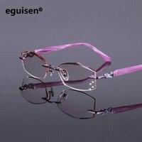52 17 138 Frameless Ultra Light Titanium Plate Women Gradient Color Diamond Cutting Finished Prescription Myopia