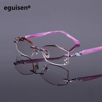 52 17 138 Frameless Ultra Light Titanium Plate Women Gradient Color Diamond Cutting Finished Prescription Myopia