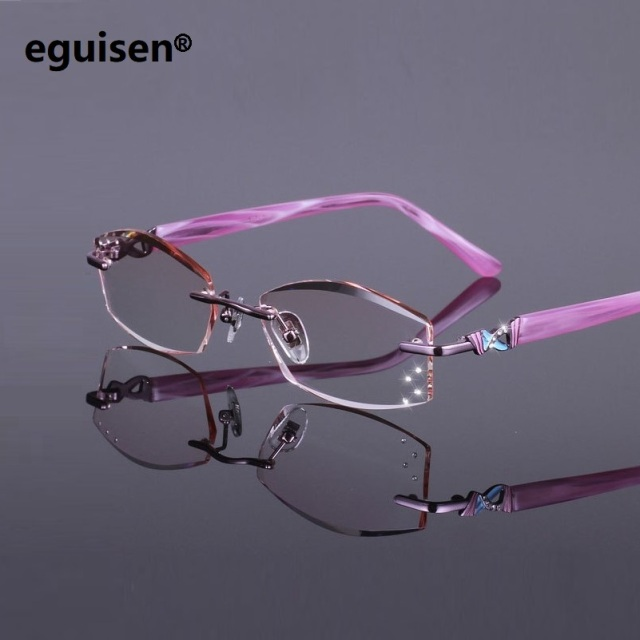 fcd21c87c2 52-17-138 Frameless ultra-light titanium plate women gradient color diamond  cutting finished prescription myopia glasses female