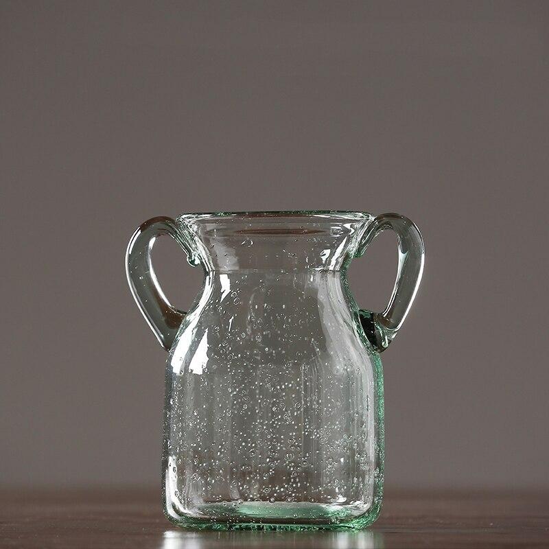 European Simple Transparent Glass Bubble Double Ear Vase Modern
