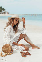 Hot 2019 New Summer Women Bikini Cover Up Floral Lace Hollow Crochet Swimsuit Cover-Ups Bathing Suit Beachwear Tunic Beach Dress golden rainfall shower faucets set brass wall mounted shower with hand shower mixer for bathroom
