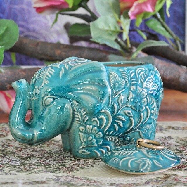 Pot de rangement classique, Statue déléphant, en céramique, pot décoratif, accessoire artisanal dornement