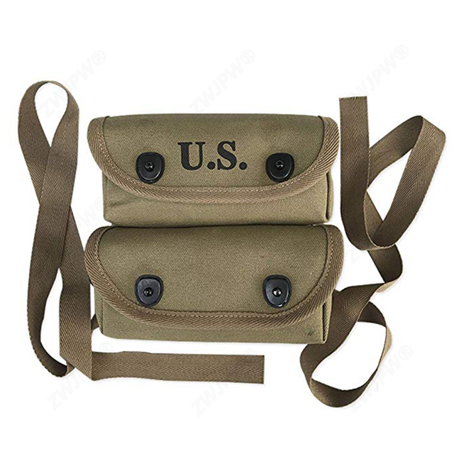 WW2 US ARMY USMC Two Pocket POUCH CANVAS BAG HIGH QUALITY REPLICA WITH HOOK NEW