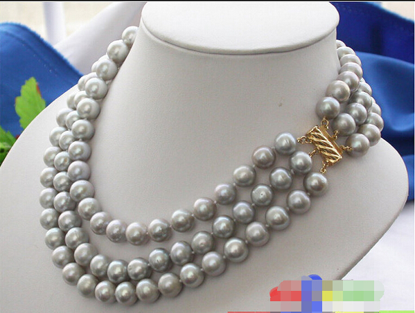 A BEAUTIFUL AA+++ 3ROW 11MM ROUND GRAY FRESHWATER PEARL NECKLACE