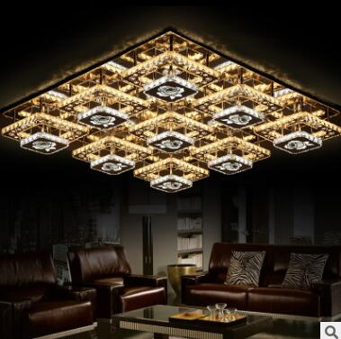 Modern minimalist rectangular LED living room low voltage flat crystal ceiling lamp factory direct creative lamps