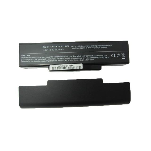 5200MAH laptop battery for Asus li-ion A32-K72 A32-N71 K72DR K72 K72D K72F K72JR K73 K73SV K73S K73E N73SV X77X77VN k72-100 X77V