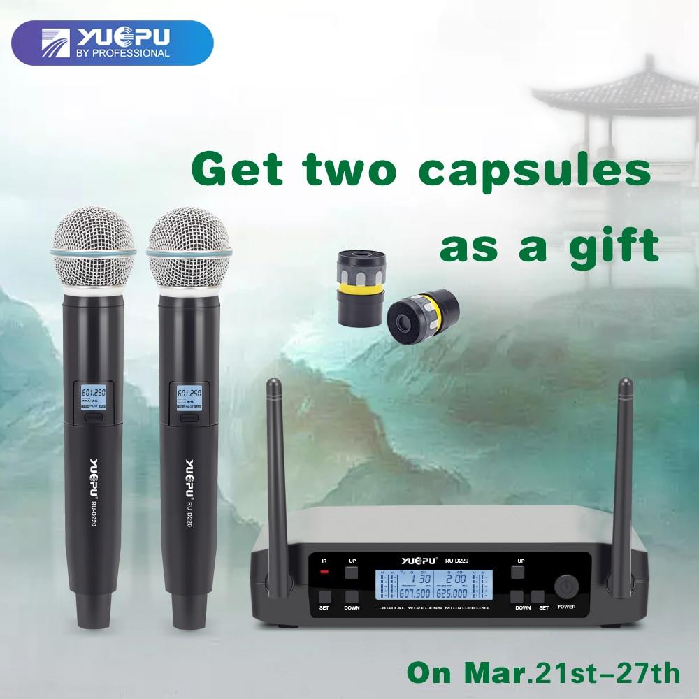YUEPU RU-D220 UHF De Poche micro pour karaoké Sans Fil Professionnel Système 2 Canal Fréquence Réglable Sans Fil Pour L'église