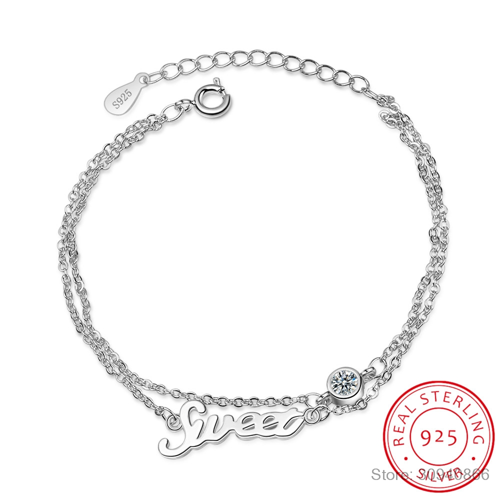 Lady's Minimalist REAL. 925 Sterling Silver Multi-Rows Double Layers Sweet Letter Round Zirconia Chain Bracelet Slim Jewelry