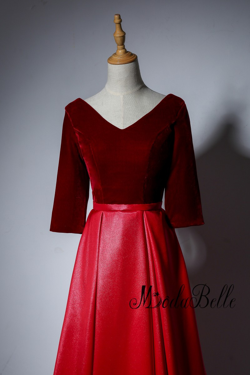 Modabelle Simple Wine Red Evening Dresses Half Sleeve Contrast Color ...