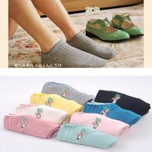 5 pairs=1 lot cute top quality fashion rabbit pattern embroidery cotton women socks ankel and short Free Shipping MF126468
