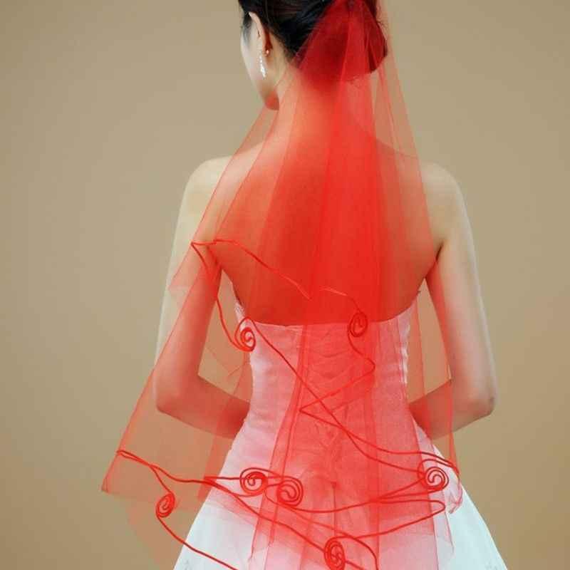 1,5 M de una capa de mujer de longitud de la punta del dedo de tul de boda velo espiral ondulado satén cinta de ajuste de Color sólido transparente delgado velo de novia