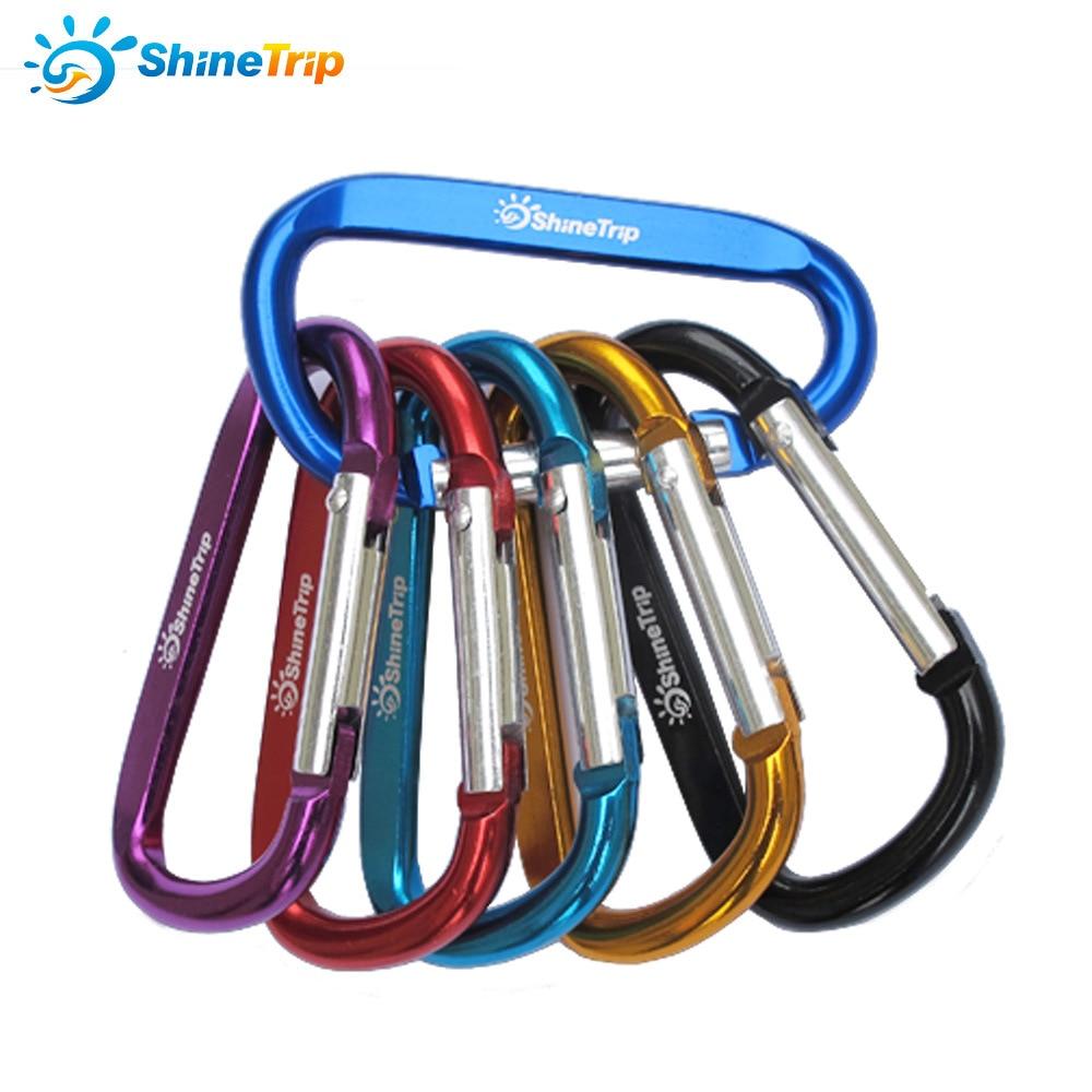 10Pcs ShineTrip Aluminum Alloy D Shape Buckle Carabiner Survial Key Chain Carabiner Hook Clip Camping Equipment EDC Buckles