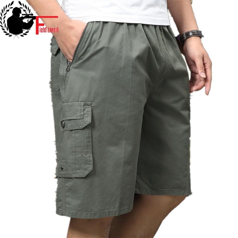 Shorts Men Capris Cargo Multi-Pocket Bermuda Big-Size Elastic-Waist Male Summer Cotton