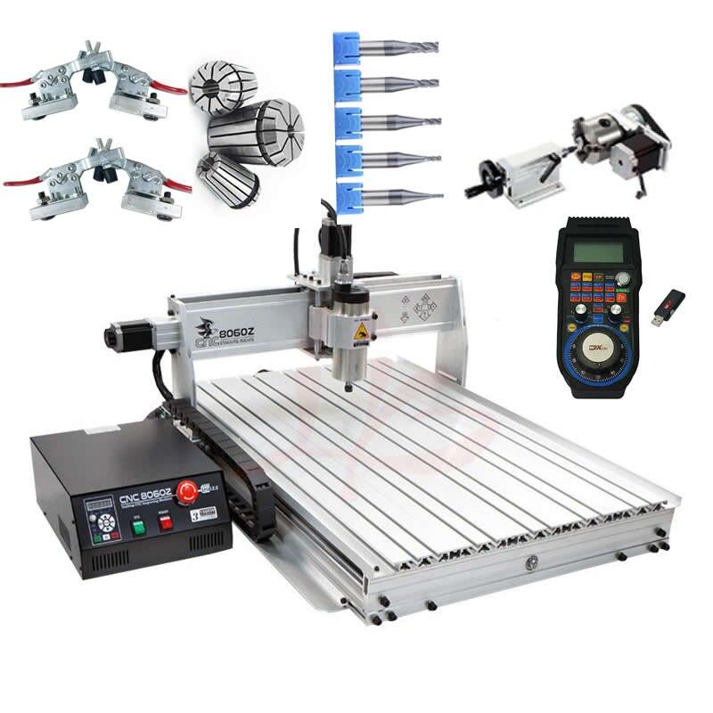 CNC 8060 2.2KW 4 assi router di CNC intaglio del legno macchina USB Mach3 controllo Lavorazione Del Legno Fresatura Incisore con Raffreddamento