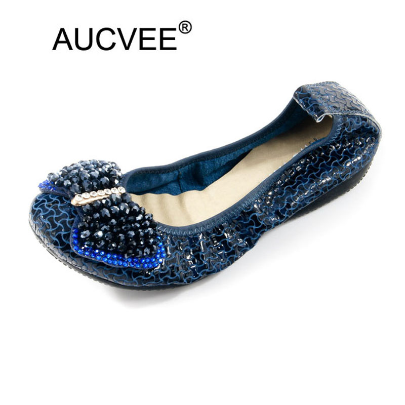AUCVEE Women Shoes Comfort 100% Genuine Leather Ballerina Designer Shoes Women Luxury 2018 Travel Ballet Flats Lady Pocket Shoes phyanic luxury rhinestone women shoes 2018 autumn new designer fashion sequin women loafers ballet flats lady fold able shoes