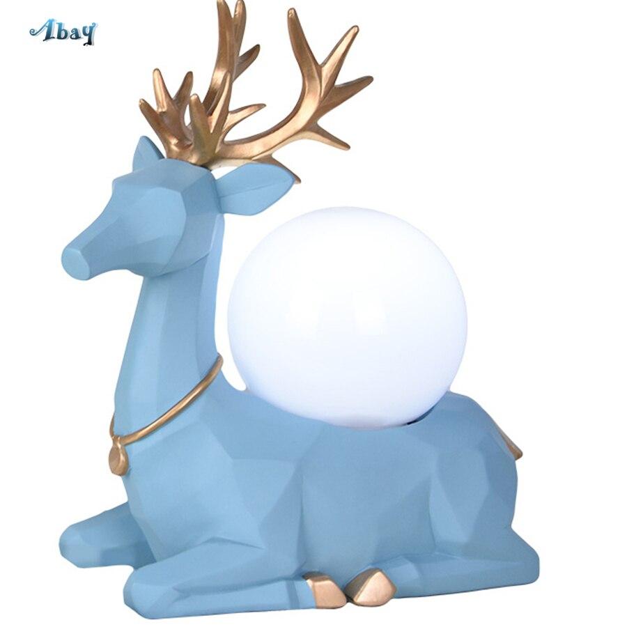 Art déco antilope forme lampe de Table Vintage sphérique abat-jour bleu/blanc résine cerf lampe de chevet décoration de la maison lampe de Table