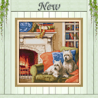 A Warm Family Pet Dog Diy Painting Counted Print On Canvas DMC 14CT11CT NKF Cross Stitch