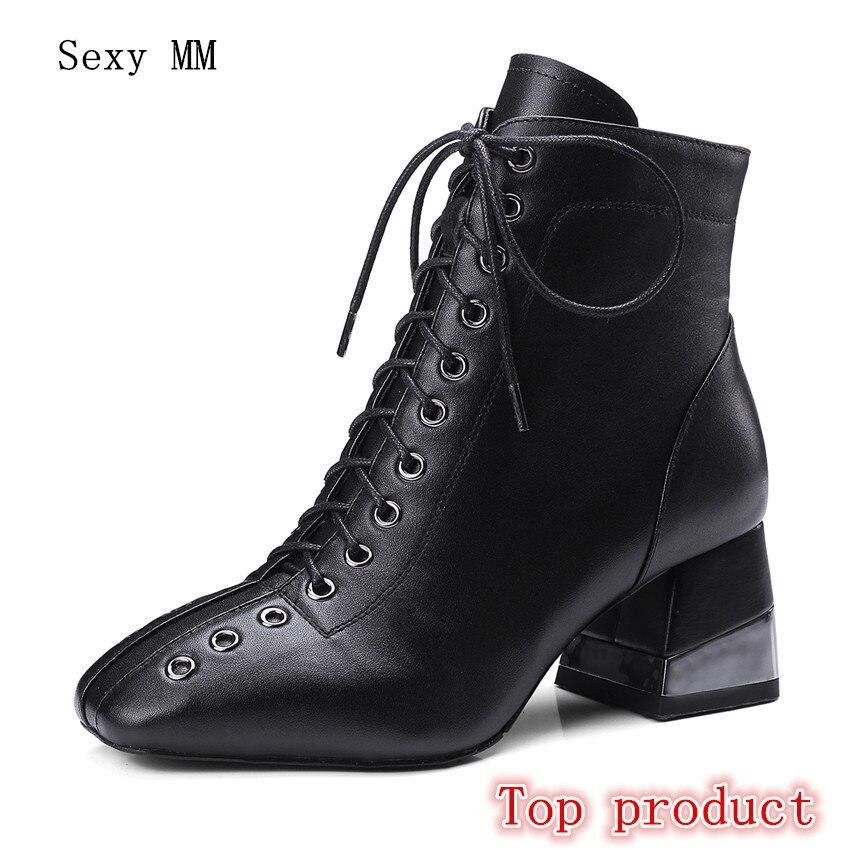8032c0b2b975 Courtes Talon Chaussures Haut Noir 40 Qualité Haute Véritable Cuir La De 43 Bottes  42 Automne ...