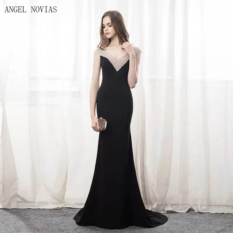 2018 Abendkleider Long Sexy Black Evening Dresses Sheer Plunging Neckline  Crystal Party Gowns Satin Beads Evening Formal Gowns-in Evening Dresses  from ... b2b56b010e38