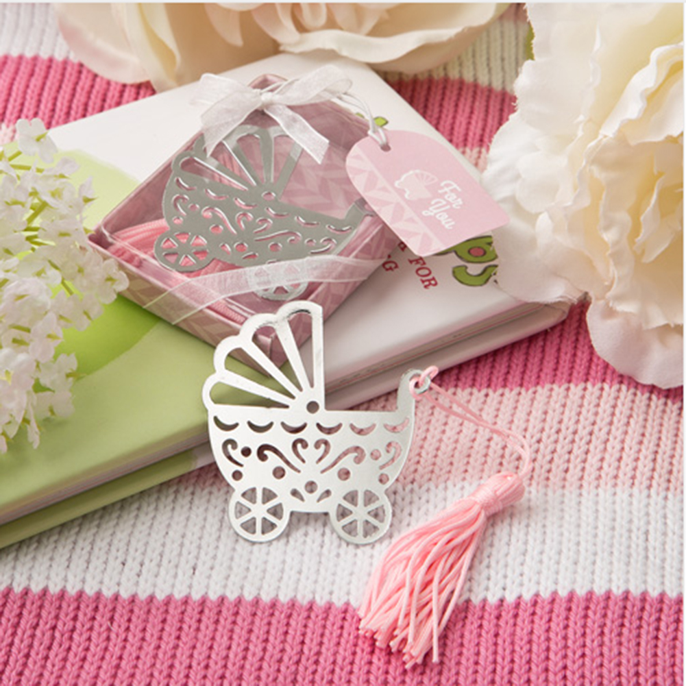 1PC Pink Blue Tassel Baby Carriage Stroller Metal Bookmark Wedding Favor Birthday Gifts Cute Craft Accessories