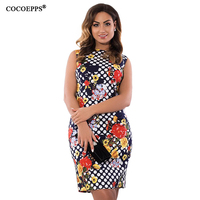 COCOEPPS New Fashion Women Dress 2017 Plus Size Floral Print Femme Dresses Summer Large Size Ladies