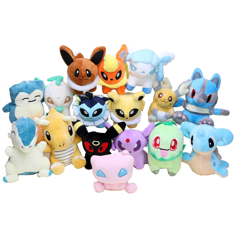 16pcs set Pocket Plush Eevee Umbreon Mew Vaporeon Flareon Glaceon Lapras Cyndaquil Chikorita Character Stuffed Animal