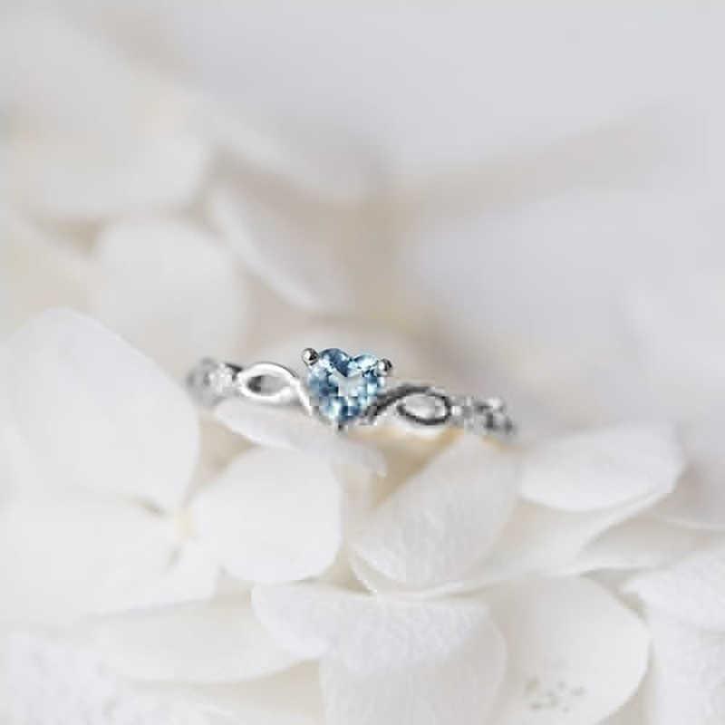 Tisonliz lindo Simple corazón azul anillos de cristal para mujer Anillos de Compromiso de boda anillo de oro rosa encanto declaración joyería regalo